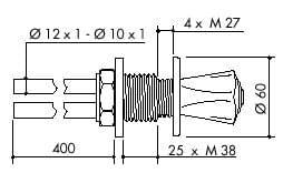 TOF 2000/120 - Laboratorní plynový ventil pro DG - nákres