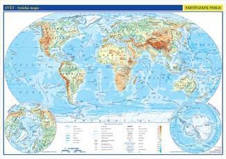 Svět - nástěnná fyzická mapa