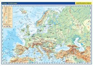 Evropa - nástěnná fyzická mapa