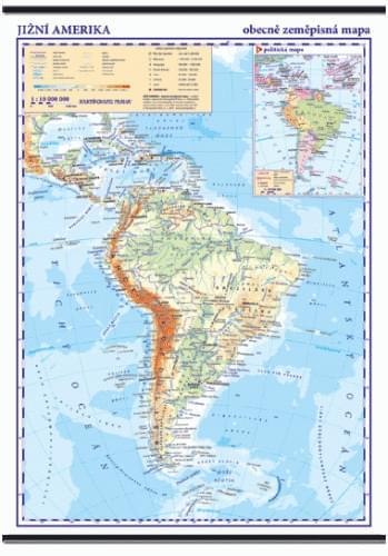 Jižní Amerika - nástěnná obecně zeměpisná mapa