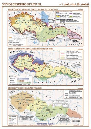 Vývoj českého státu III. (1. pol. 20. stol.) - nástěnná mapa
