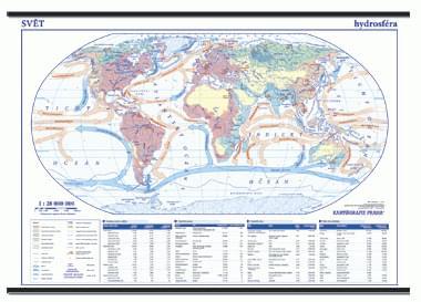 Svět hydrosféra - nástěnná mapa