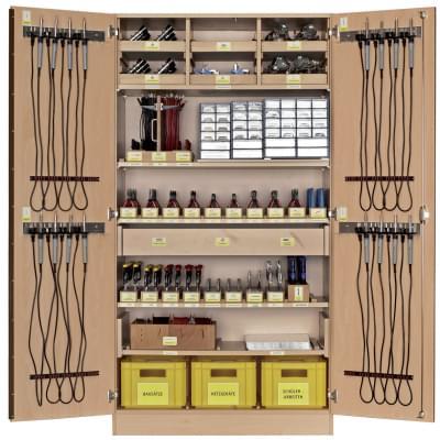 Dílenská skříň se základním vybavením  pro práci s elektro součástkami