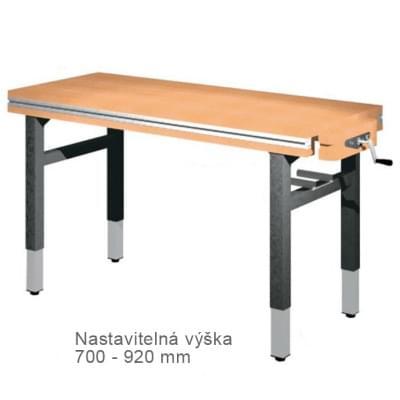 Dielenský stôl 1 500 × 650 × 700 - 920 - výška nastaviteľná na 4 nohách, 1x zverák stolársky