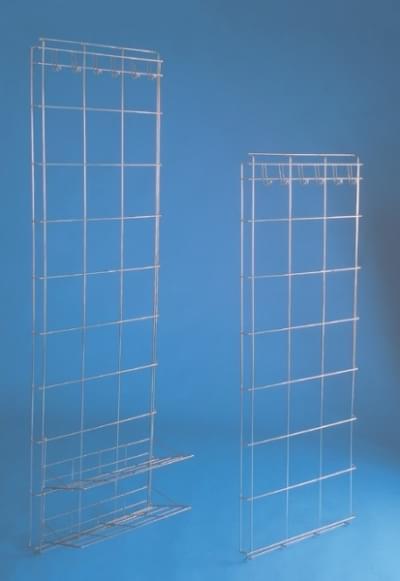 Úložná nerezová stěna s háčky na oděv 180 × 50 cm, 2 police