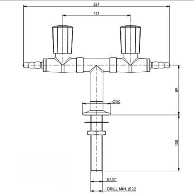 Laboratorní plyntový T kohout - TOF 2000/50 - rozměry