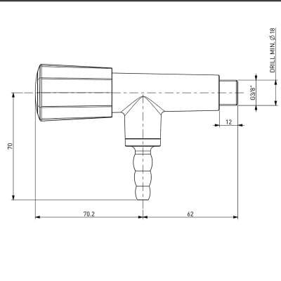 Laboratorní plynový kohout s přímou hlavici a vyústěním 90°- TOF 2000/20 - rozměry