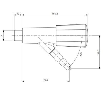 TOF 2000/2 - Laboratórny plynový kohút, 45°