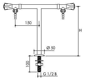 TOF 1000/365 - Laboratórny stojánkový T ventil pre vodu, výtoky dole