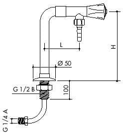 TOF 1000/630 - Laboratórny ventil pre demi vodu s prívodnou hadicou, výtok dole