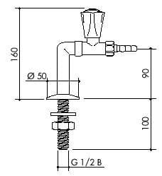 TOF 1000/245 - Laboratorní stojánkový ventil pro vodu, přímý výtok - nákres