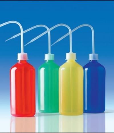 Střička celobarevná, PE-LD, úzkohrdlá, žlutá,250 ml