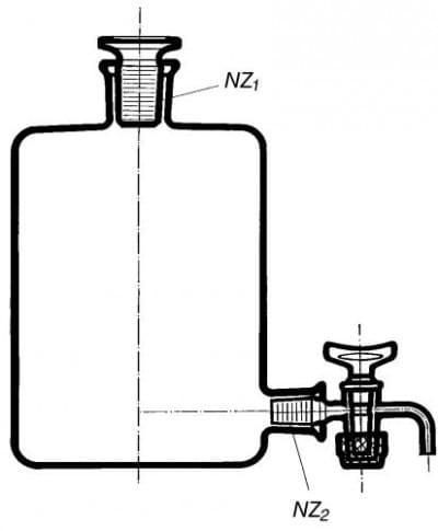 Fľaša podľa Woulfa so zabrúsenou zátkou a kohútikom na dne