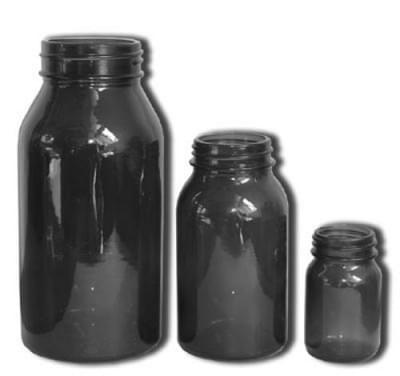 Fľaša širokohrdlá so závitom - tabletovka, hnedá, na uzáver GL 60