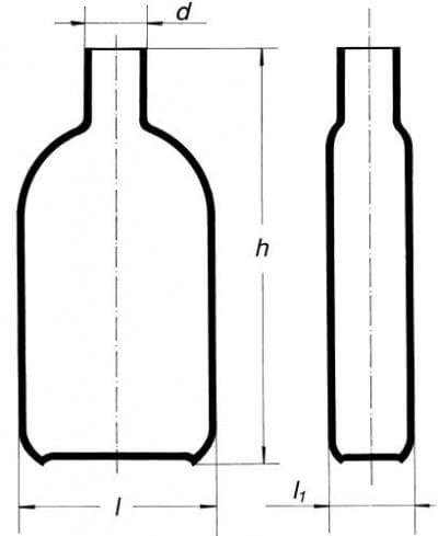 Fľaša na kultúry podľa Rouxa, s hrdlom uprostred, 450 ml