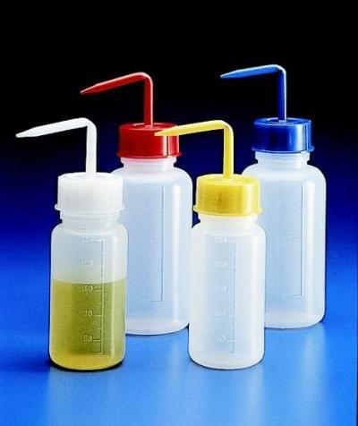 Strička s farebným uzáverom 250 ml, PE, širokohrdlá (GL45), biela - balení 10 ks