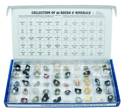 7038 - Sada 50 minerálov a hornín - rôzny pôvod