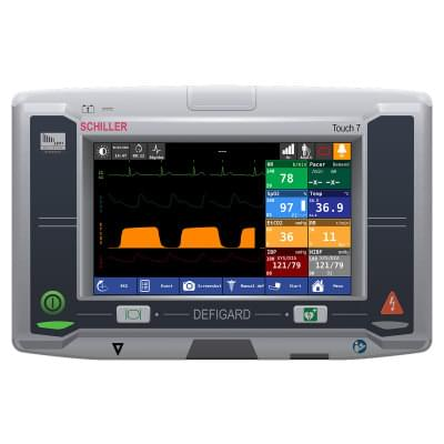 8001000 - Simulátor obrazovky pacientskeho monitoru Schiller DEFIGARD Touch 7 pre REALITi360