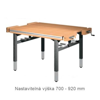 Dielenský stôl 1 300 × 1 100 × 700 - 920 - výška nastaviteľná na 4 nohách, 4x zverák stolársky čelne