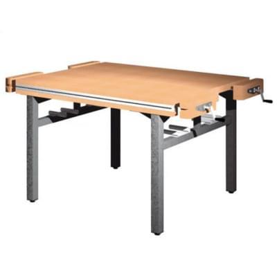 Dielenský stôl 1 300 × 1 100 × 850 - pevná výška, 4x zverák stolársky čelne