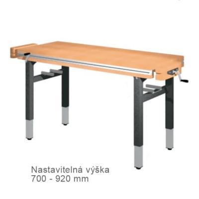 Dielenský stôl 1 300 × 650 × 700 - 920 - výška nastaviteľná centrálne kľukou, 2x zverák stolársky čelne