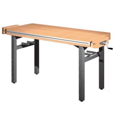 Dielenský stôl 1 300 × 650 × 850 - pevná výška, 2x zverák stolársky čelne
