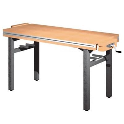 Univerzální dílenský stůl s pevnou výškou - 2× truhlářský svěrák - diagonálně