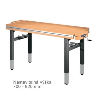 Dielenský stôl 1 500 × 650 × 700 - 920 - výška nastaviteľná centrálne kľukou, 2x zverák stolársky diagonálne
