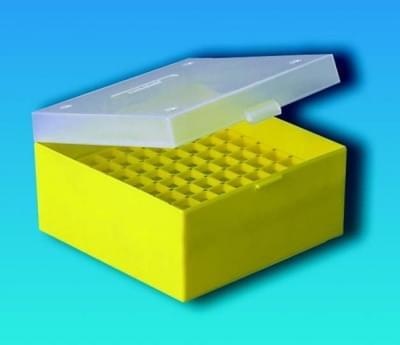 Kryobox s mriežkou, PP, pre 3 - 5 ml skúmavky, červená