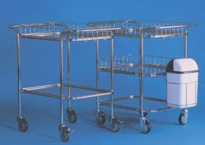 Vozík s horními madly se 3 tácy, 2 ohrádkami a nádobou na odpad, malý, kostra nerez