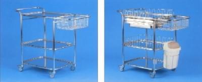 Víceúčelový vozík s dopňky, střední, kostra nerezová, koš nerezový