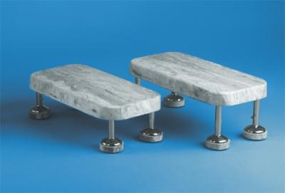 Pojazdný schodík s gumovým stupňom, chrómovaný, výška 20 cm, neantistatický