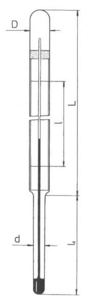 Teploměr mlékárenský, délka stonku 80 mm