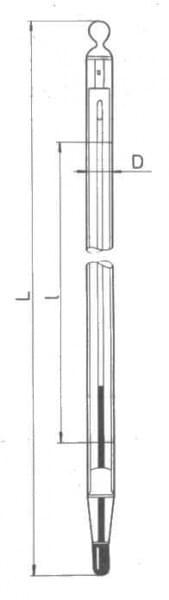 Teploměr obalový s jemným dělením stupnice