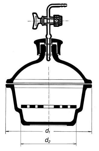 Exsikátor s plast. hmatníkom, s kohútikom, 250 mm