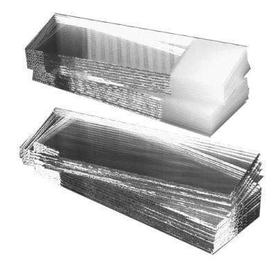 Mikrosklo podložní, řezané okraje, myté, oboustranně matovaná ploška