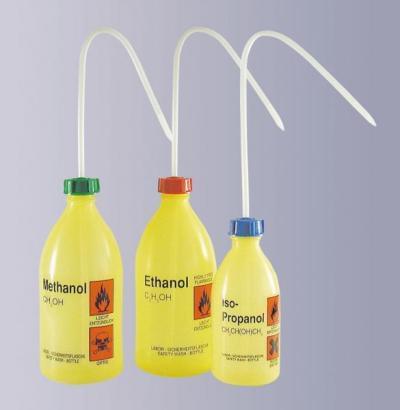 Střička bezpečnostní úzkohrdlá, LDPE, s potiskem, Ethylacetát, 250 ml