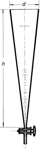 Valec sedimentačný podľa Imhoffa, s kohútom 1000 ml