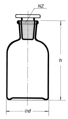 Láhev reagenční, úzkohrdlá se zabr. zátkou, hnědá, s NZ 24/29, 500 ml