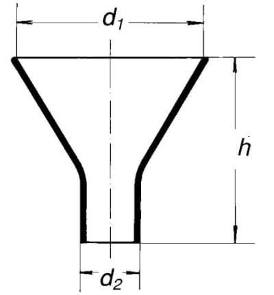 Násypka s krátkym rovným koncom, 200 mm