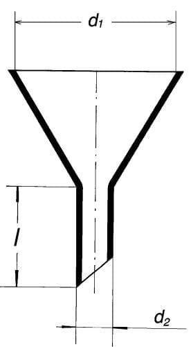 Násypka s krátkym šikmým koncom, 150 mm