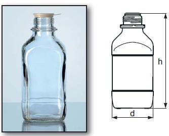 Láhev zásobní čtyřhranná, úzkohrdlá, GL 32, čirá, bez uzávěru