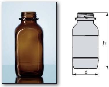 Láhev zásobní čtyřhranná, širokohrdlá, GL 60, hnědá, bez uzávěru