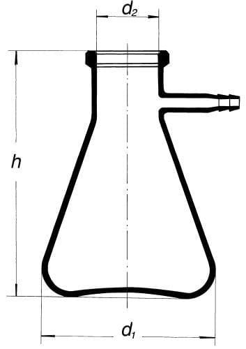 Fľaša odsávacia so sklenenou olivkou, 1000 ml