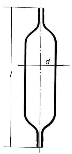 Vzorkovnice na plyny se dvěmi olivkami (na gumy a tlačky)
