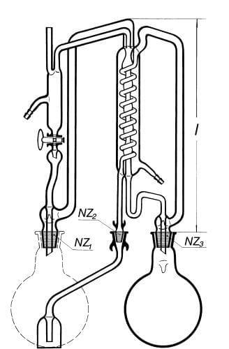 Prístroj destilačný na nepretržitú destiláciu a redestiláciu vody
