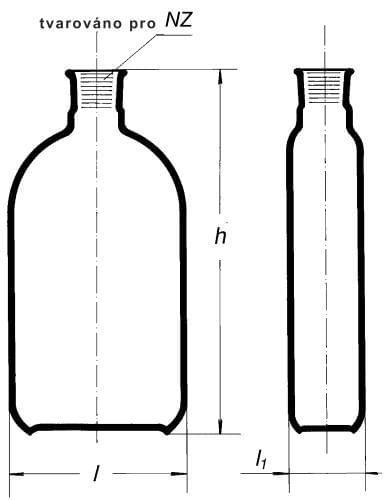 Fľaša na kultúry podľa Rouxa, hrdlo uprostred, NZ, 75 ml