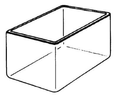 Vaňa sklenená, hranatá, 100 × 100 × 200 mm