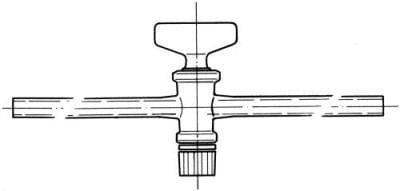 Kohout přímý jednocestný se skleněným kladívkem, označení 2, vrtání 2,5 mm
