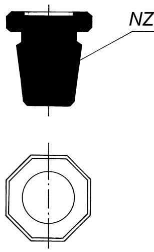 Zátka plná - osemhranná s NZ 34/35, odľahčená